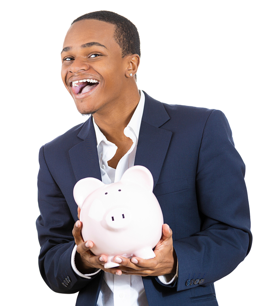 Are your customers costing you? A gentleman holding a piggy bank.