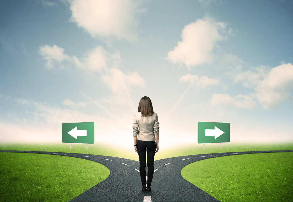 Concept of important choices of a businessperson - future after the pandemic