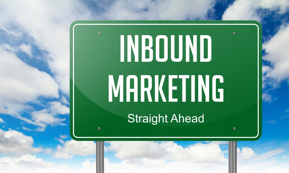 Highway Signpost with Inbound Marketing wording on Sky Background.