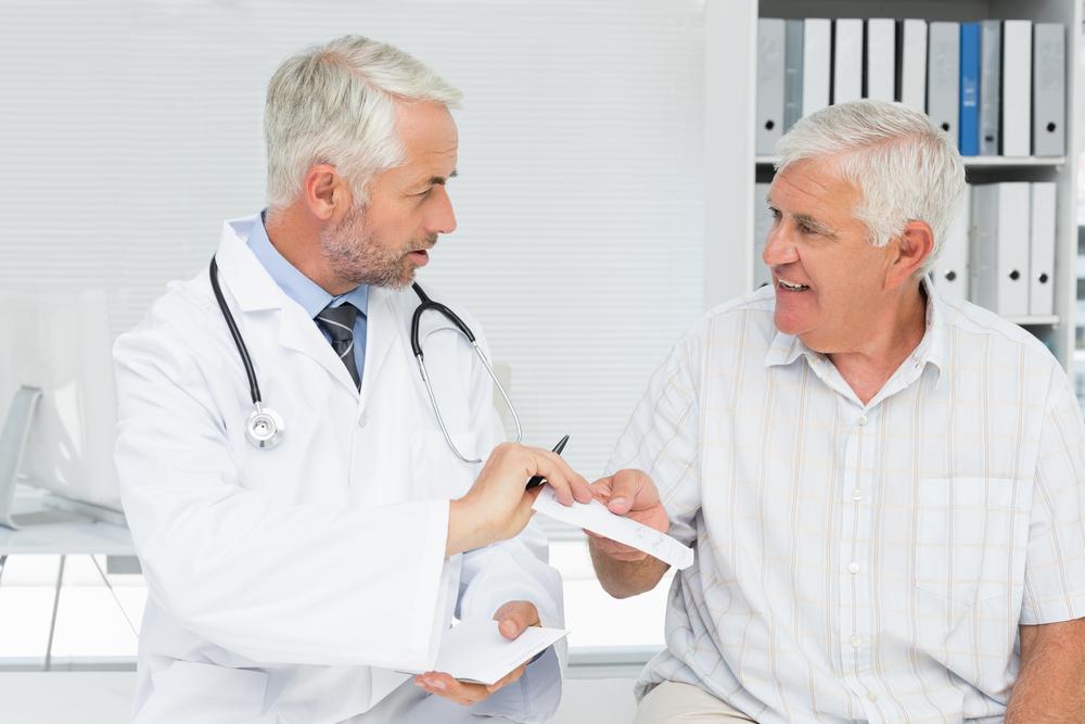 A senior patient in consultation.