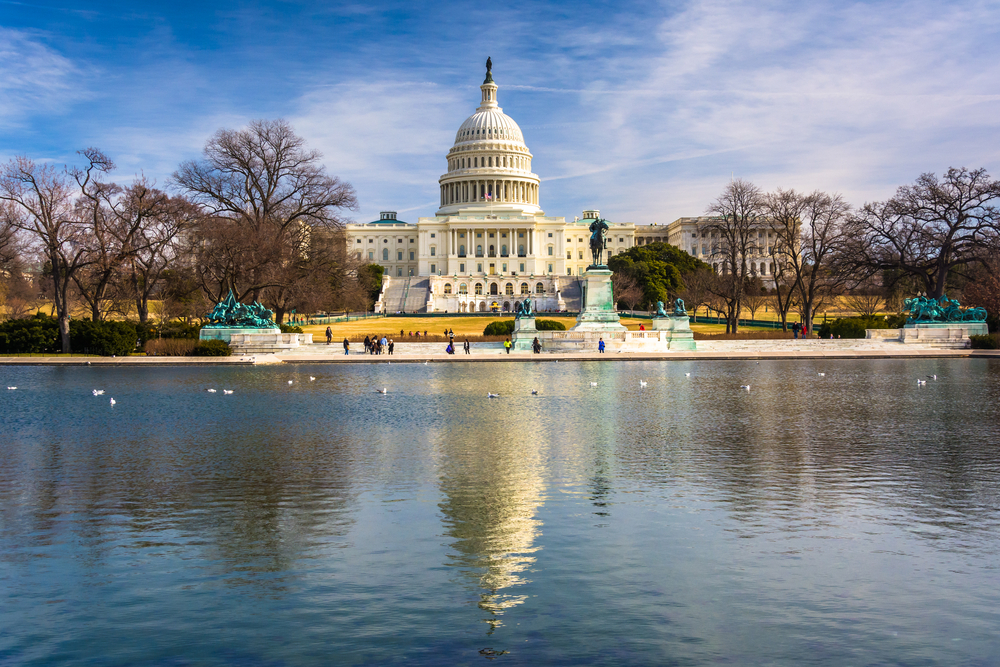 The United States Capitol and reflecting pool in Washington, DC