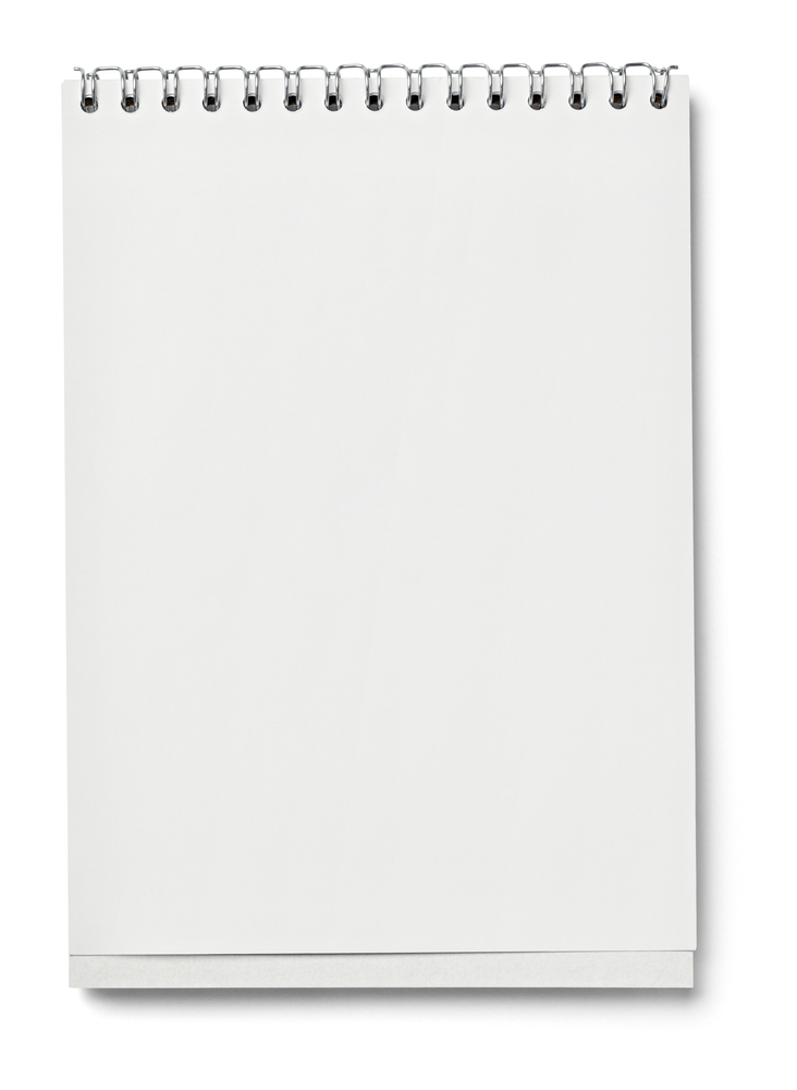 blank page in notebook