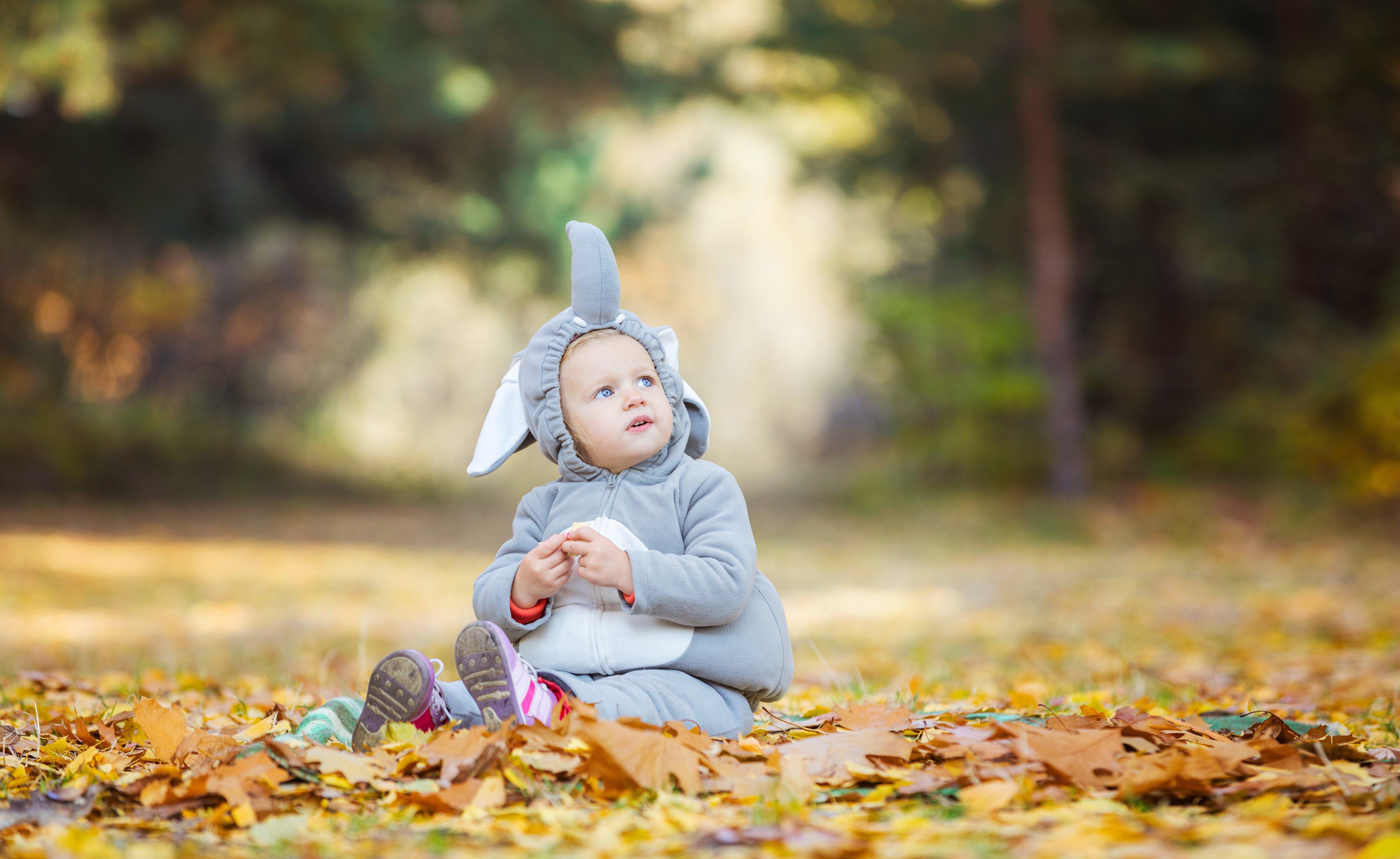 little girl in elephant costume